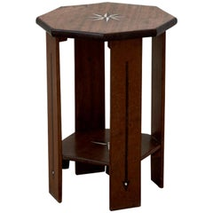 Vintage English 1930s Small Octagonal Side Table in Teak with Ebony and Bone