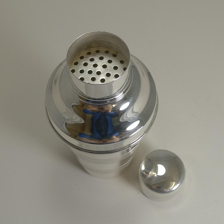 Mid-20th Century Vintage English Art Deco Engine Turned Cocktail Shaker by Mappin & Webb For Sale