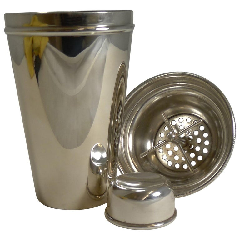 Vintage English Art Deco Silver Plated Cocktail Shaker with Integral Ice Breaker For Sale
