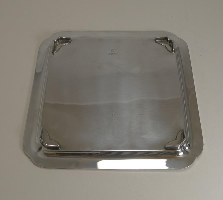 Vintage English Art Deco Silver Plated Square Salver / Tray by Elkington, 1938 For Sale 1