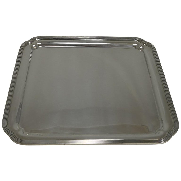 Vintage English Art Deco Silver Plated Square Salver / Tray by Elkington, 1938 For Sale