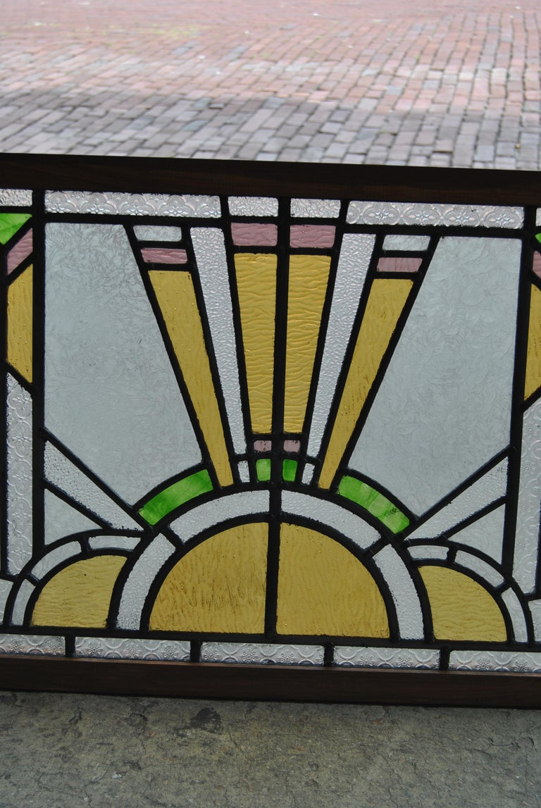 Late 20th Century Vintage English Art Deco Style Stained Glass Window For Sale