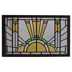 Vintage English Art Deco Style Stained Glass Window