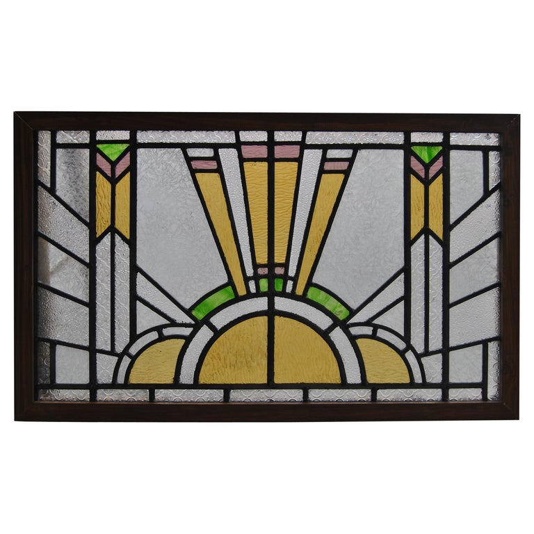 Vintage English Art Deco Style Stained Glass Window For Sale