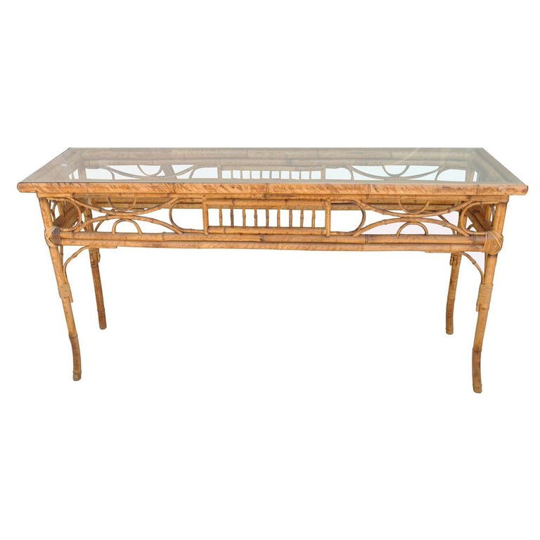 Vintage English Bamboo Sofa Console Table For