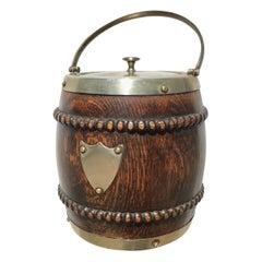 Vintage English Biscuit Barrel of Oak