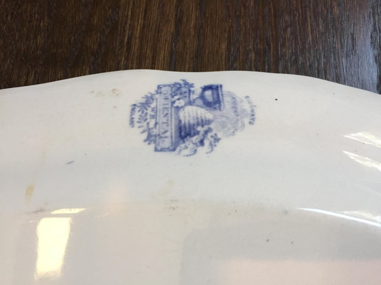 Vintage English Blue and White Platter For Sale 4