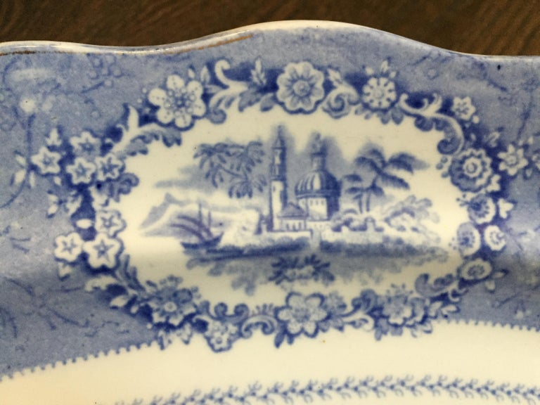 19th Century Vintage English Blue and White Platter For Sale