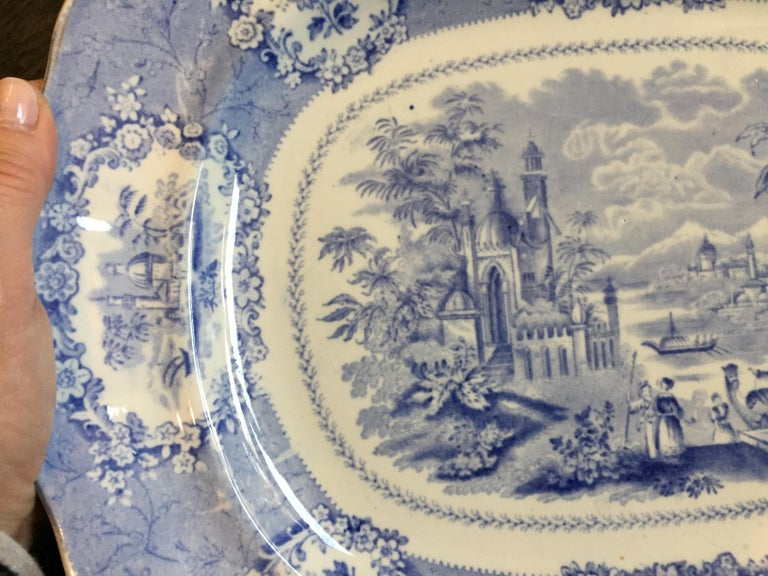 Ceramic Vintage English Blue and White Platter For Sale
