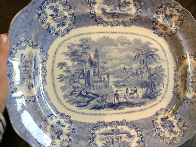 Vintage English Blue and White Platter For Sale 1