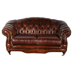 Vintage English Button-Tufted Leather Camel Back