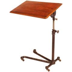 Vintage English Cast Iron Tilt-Top Hospital Bedside Invalid Serving Table