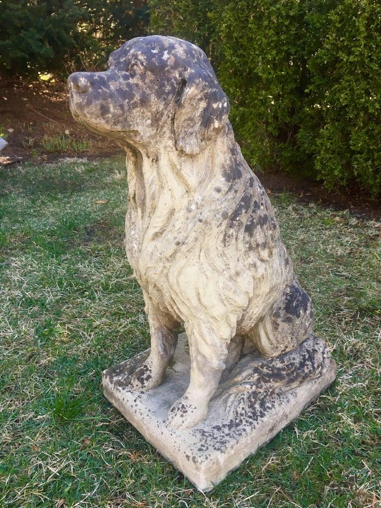 Lifesize English Cast Stone Golden Retriever Statue At 1stdibs