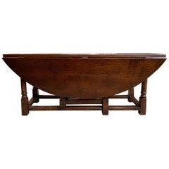 Vintage English Coffee Table Drop Leaf  Jacobean Gate Leg Wake Table Design