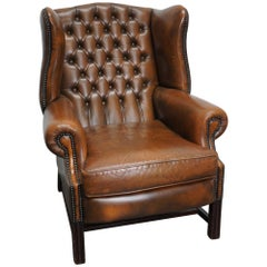 Vintage English Cognac Colored Leather Chesterfield Club Chair