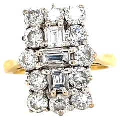 Vintage English Diamond Gold Cluster Ring