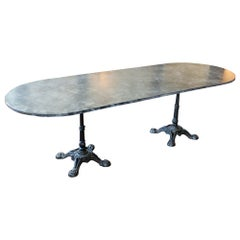 Vintage English Faux Marble Painted Long Bistro Table with French Iron Bases