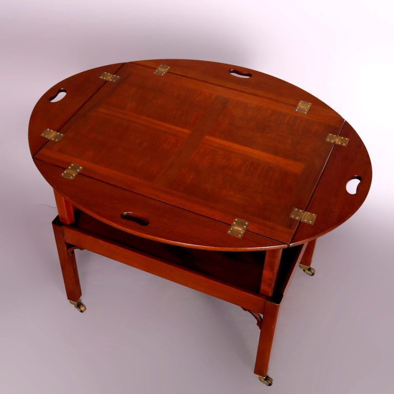 American Vintage English George III Style Kittinger Mahogany Tea Table and Stand For Sale