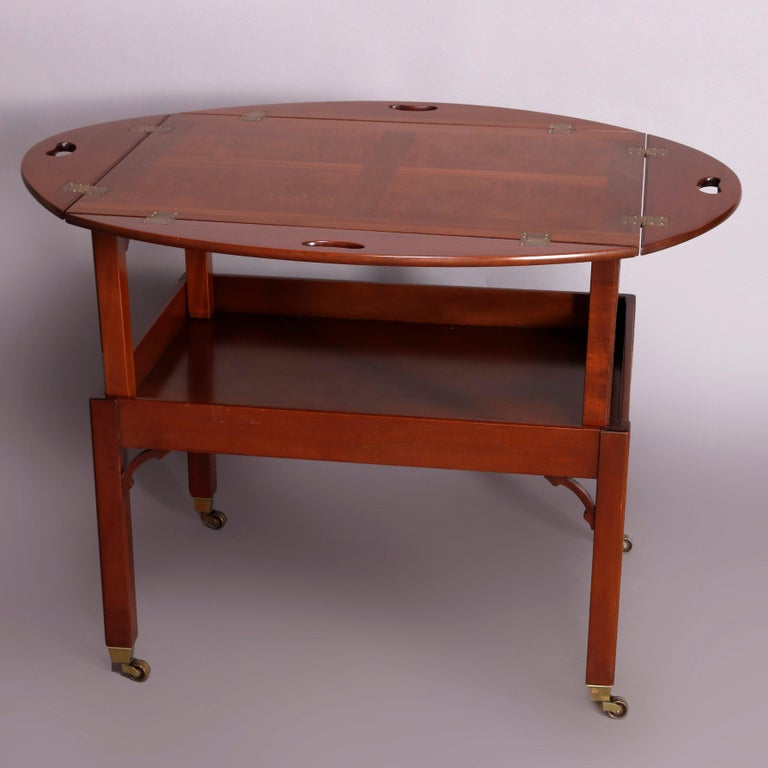 Inlay Vintage English George III Style Kittinger Mahogany Tea Table and Stand For Sale