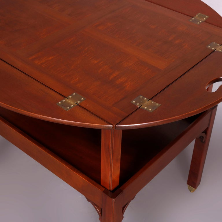 Vintage English George III Style Kittinger Mahogany Tea Table and Stand In Good Condition For Sale In Big Flats, NY