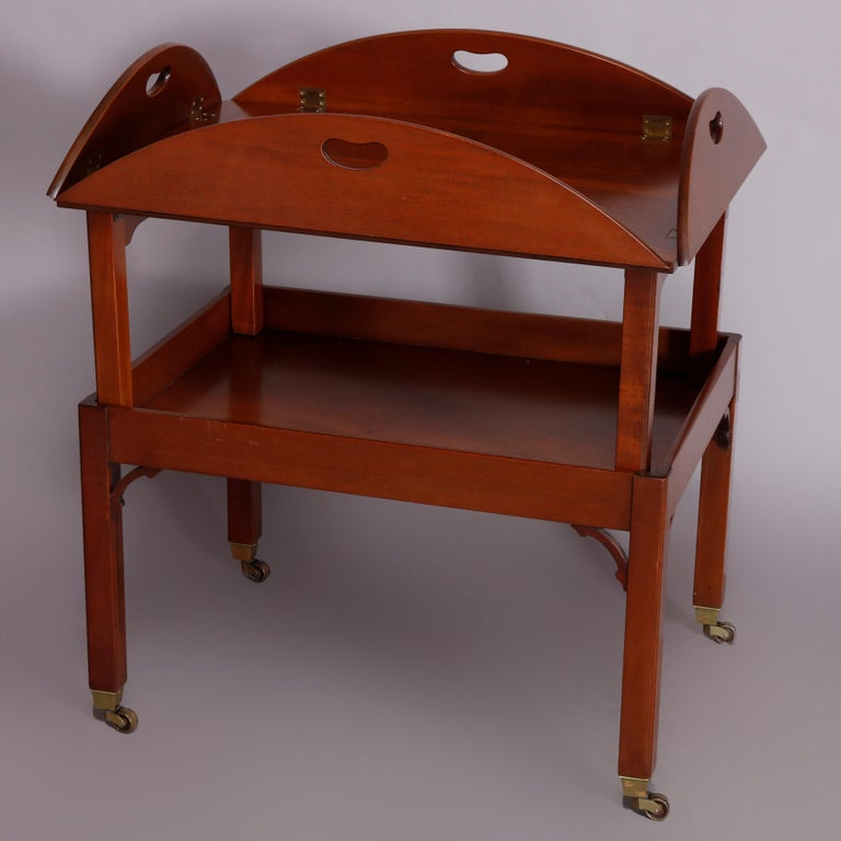 20th Century Vintage English George III Style Kittinger Mahogany Tea Table and Stand For Sale