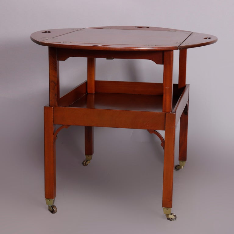 Vintage English George III Style Kittinger Mahogany Tea Table and Stand For Sale 3