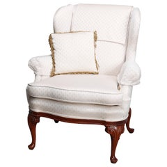 Vintage English George III Style Upholstered Wingback Chair, 20th Century