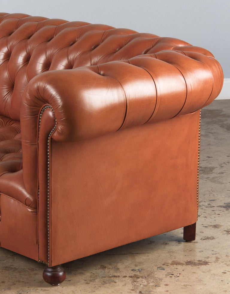 Vintage English Leather Chesterfield Sofa, 1960s For Sale 12