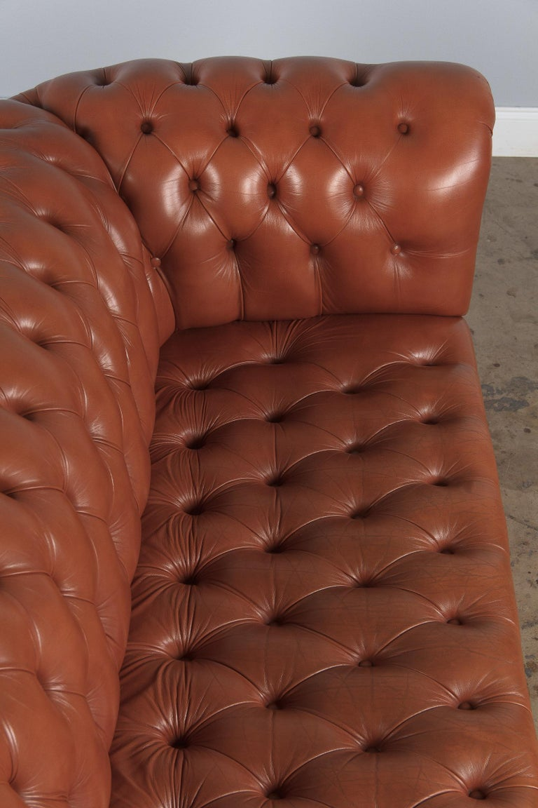 Vintage English Leather Chesterfield Sofa, 1960s For Sale 15