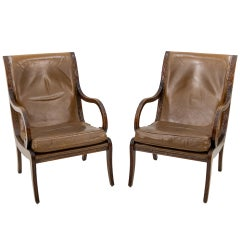 Vintage English Leather Library chairs