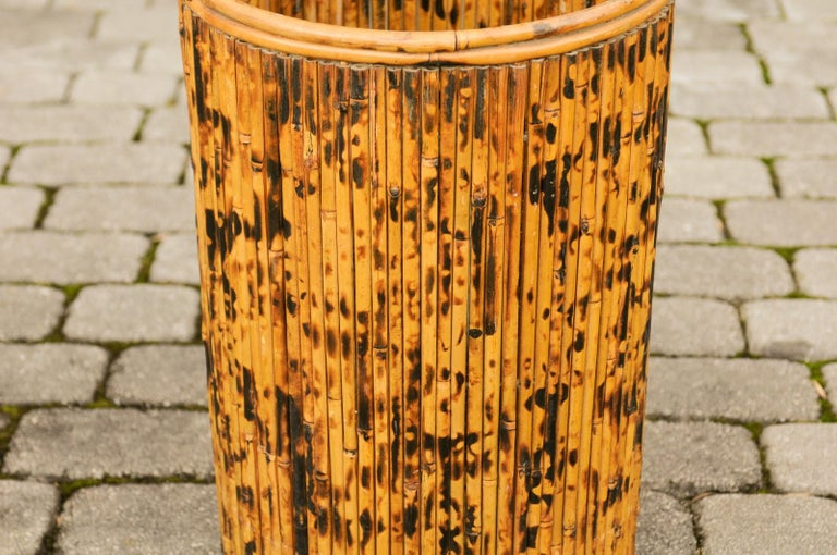 20th Century Vintage English Midcentury Bamboo Circular Umbrella Stand with Mottled Finish For Sale