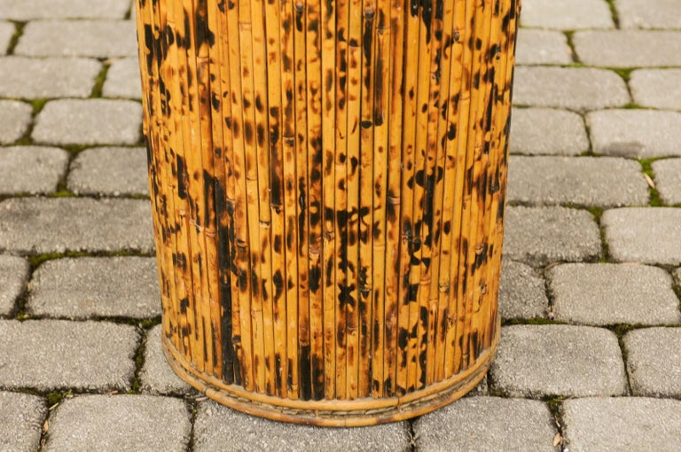 Vintage English Midcentury Bamboo Circular Umbrella Stand with Mottled Finish For Sale 1