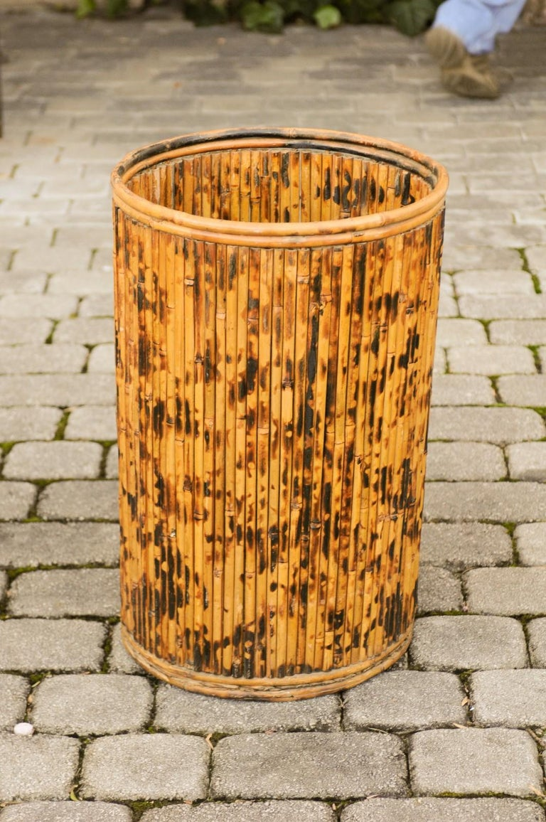 Vintage English Midcentury Bamboo Circular Umbrella Stand with Mottled Finish For Sale 2