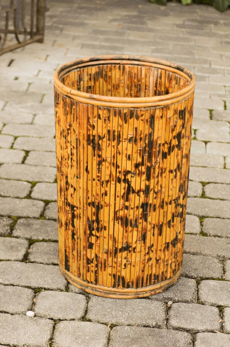 Vintage English Midcentury Bamboo Circular Umbrella Stand with Mottled Finish For Sale 4