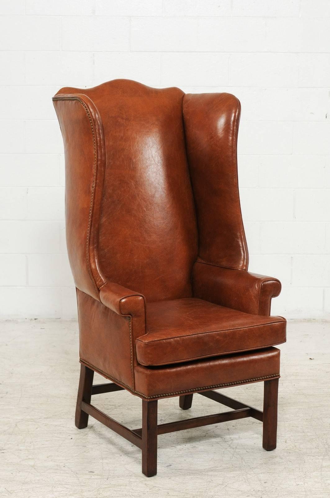 Superbe Mid Century Modern Vintage English Midcentury Brown Leather Wingback Chair  With Brass Nailhead Trim For