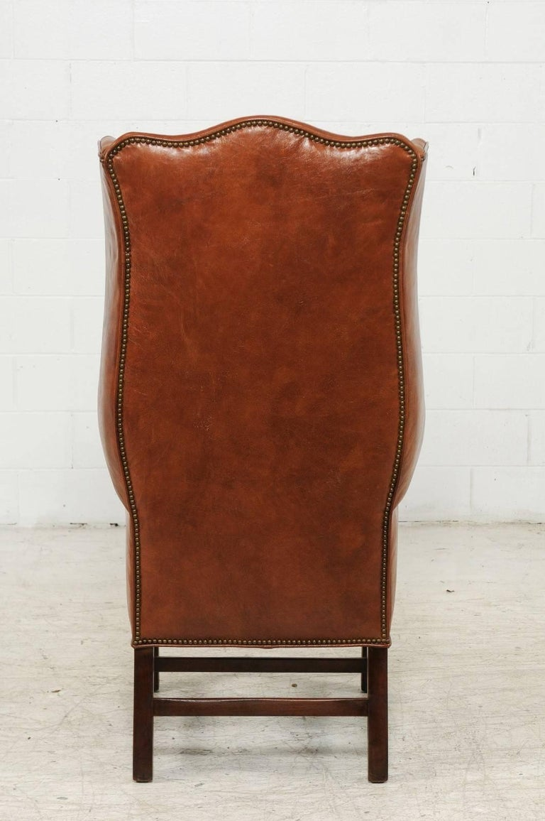 20th Century Vintage English Midcentury Brown Leather Wingback Chair with  Brass Nailhead Trim For Sale - Vintage English Midcentury Brown Leather Wingback Chair With Brass