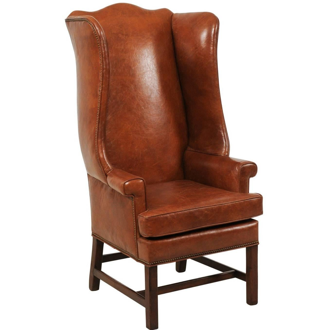 Vintage English Midcentury Brown Leather Wingback Chair With Brass Nailhead  Trim For Sale
