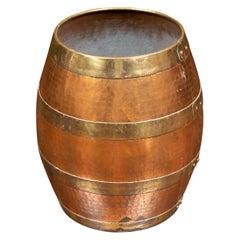 Vintage English Midcentury Copper Barrel with Horizontal Brass Braces