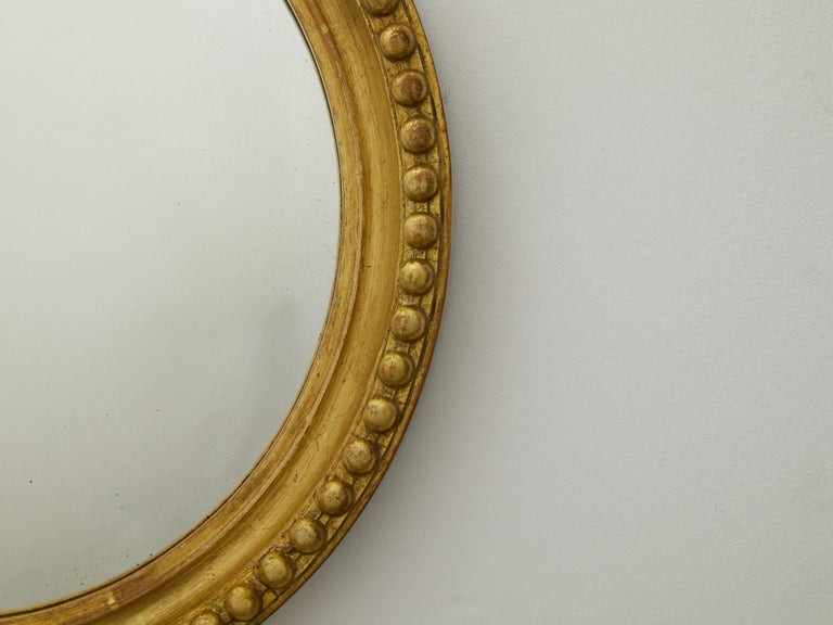 Mid-Century Modern Vintage English Midcentury Giltwood Convex Mirror with Beaded Motifs For Sale