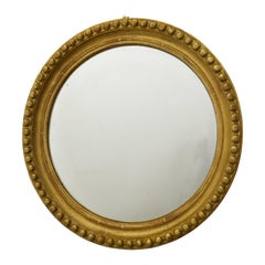 Vintage English Midcentury Giltwood Convex Mirror with Beaded Motifs