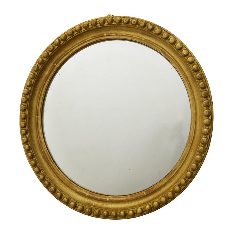 Vintage English Midcentury Giltwood Convex Mirror with Beaded Motifs For Sale