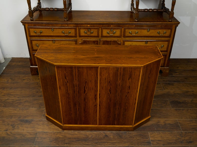 Mid-Century Modern Vintage English Midcentury Rosewood Credenza with Canted Side Panels For Sale