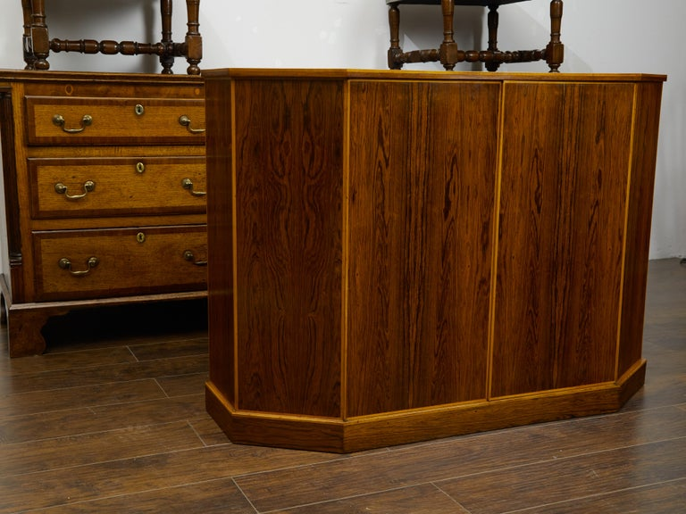 20th Century Vintage English Midcentury Rosewood Credenza with Canted Side Panels For Sale