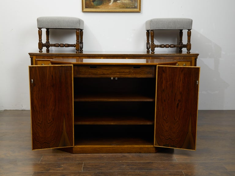 Vintage English Midcentury Rosewood Credenza with Canted Side Panels For Sale 1