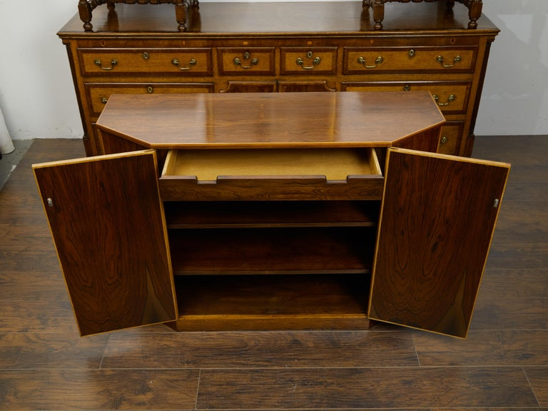 Vintage English Midcentury Rosewood Credenza with Canted Side Panels For Sale 2