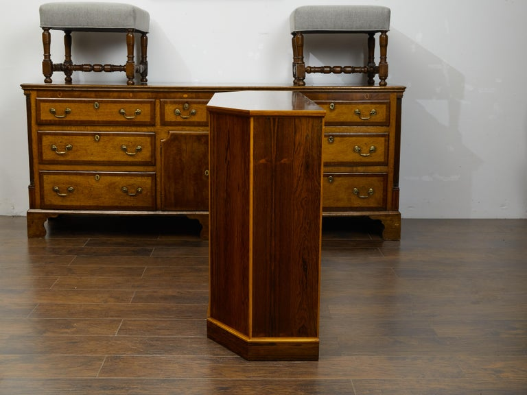 Vintage English Midcentury Rosewood Credenza with Canted Side Panels For Sale 4