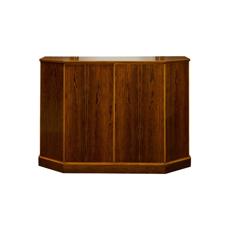 Vintage English Midcentury Rosewood Credenza with Canted Side Panels For Sale