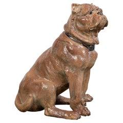 Vintage English Midcentury Sitting Bulldog Pottery Statue with Black Collar