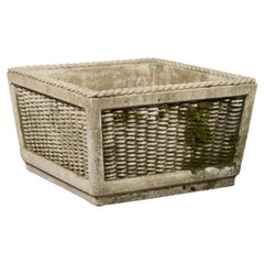 Vintage English Midcentury Stone Planter with Textured Finish and Aged Patina