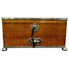 Vintage English Oak Presentation Box with Compartments